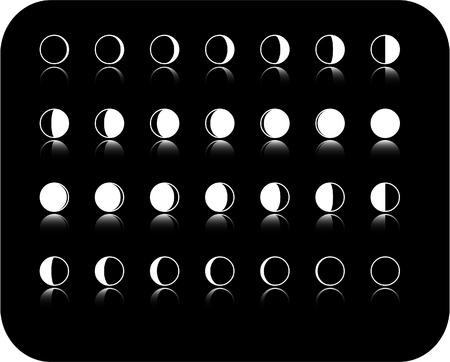 star and crescent: el vector icono conjunto fase de la luna