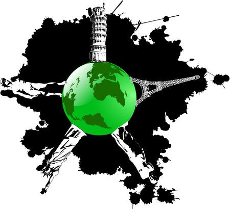 vector blot and green earth wish landmarks Vector