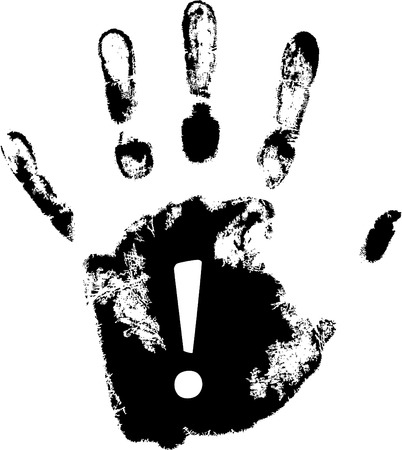 vector hand print with exclamation mark Vector