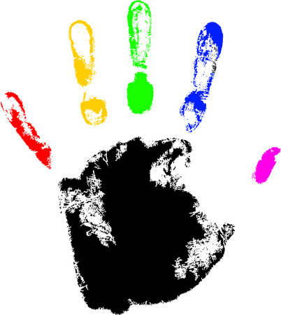 vector hand print with rainbow finger Vector