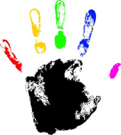 vector hand print with rainbow finger Vector
