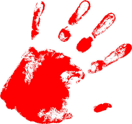 the red vector hand print Stock Vector - 5059546