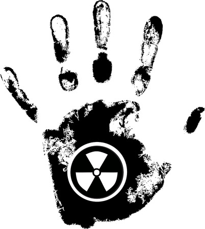vector hand print with radiation danger symbol Vector