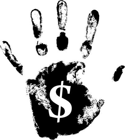 vector hand print with dollar symbol Stock Vector - 5059543