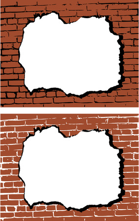 kőtörmelék: the vector brick wall with hole Illusztráció