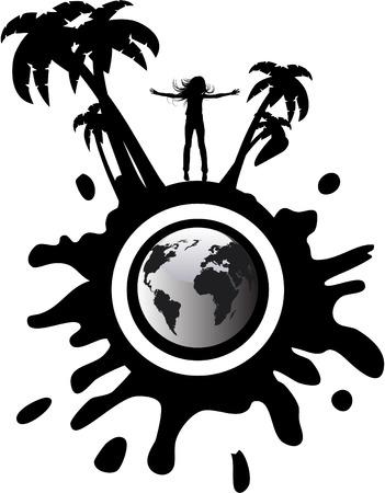 the vector silhouette girl on globe Stock Vector - 5085721