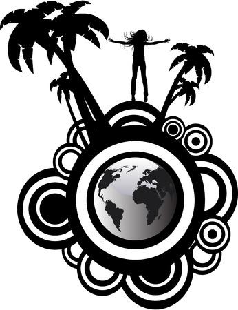 the vector silhouette girl on globe Vector