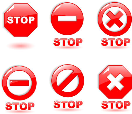 the red vector stop symbol on white Stock Vector - 5085775