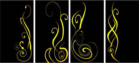 yellow vector ornate set  Vector