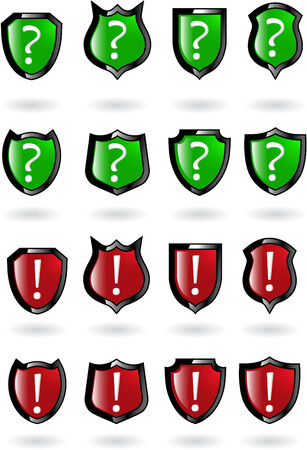 the set vector red shield with exclamation and question mark Stock Vector - 5504933