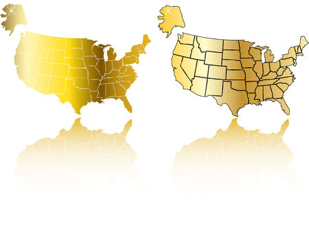 the vector gold usa map set Vector