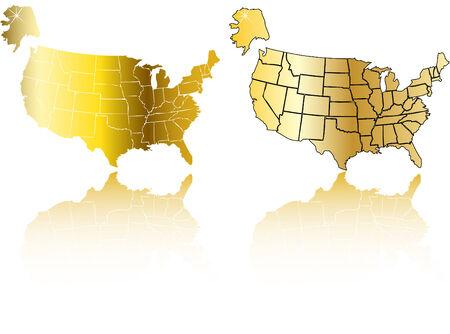 the vector gold usa map set Vector
