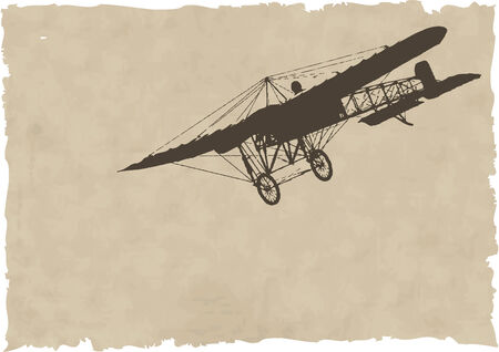 aviations: the vector old plane silhouette on old paper
