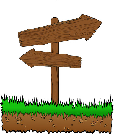 vector wooden arrow on grass  Vector