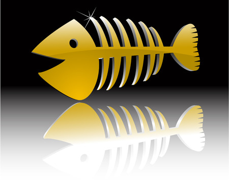 the abstract vector gold fish skeleton Vector