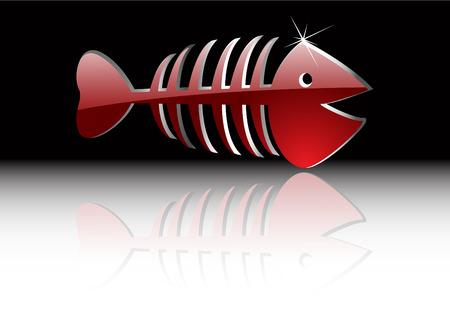 skeleton of fish: el esqueleto de peces de oro de vector abstracto