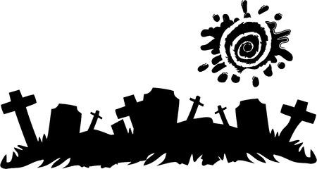 the vector halloween cemetery banner  Vector