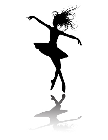 the ballet dancers silhouette Иллюстрация