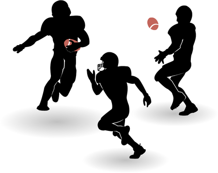quarterback: the american football silhouettes set