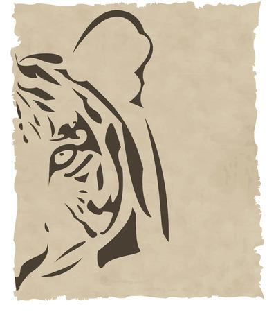 silueta tigre: la cabeza de tigre abstracto