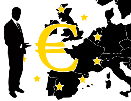 the vector euro sign with businessman   Vector