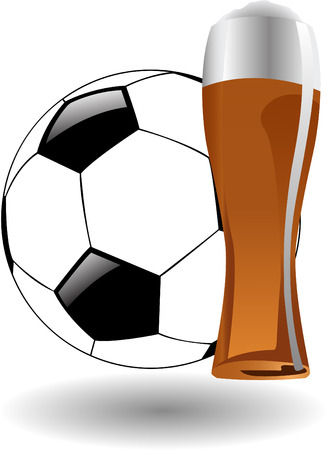 alehouse: the vector glass of beer with soccer ball