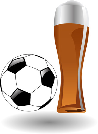 the vector glass of beer with soccer ball Stock Vector - 6481034