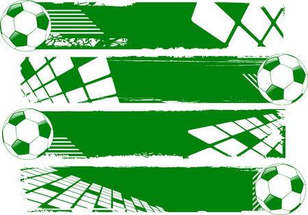 futbol: i palloni da calcio banner verde vettoriale  Vettoriali
