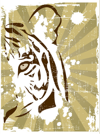 brown eyes: the vector abstract tiger head