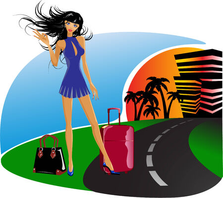 the vector girl on her travel Vettoriali