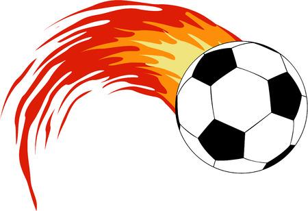 la bola de soocer de vector con fuego  Vectores