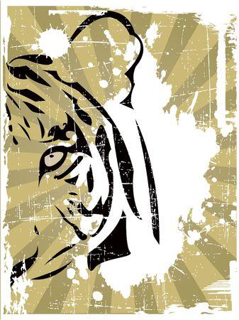 la cabeza de tigre abstracta  Ilustración de vector