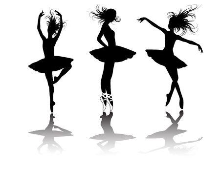 ballet ni�as: el conjunto de silueta de bailarines de ballet
