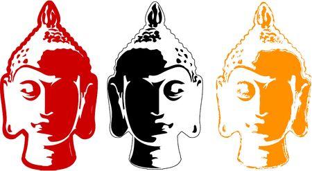 the  color buddha head set  Vector