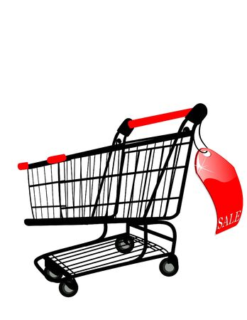 the Shopping cart with Sale label Vector