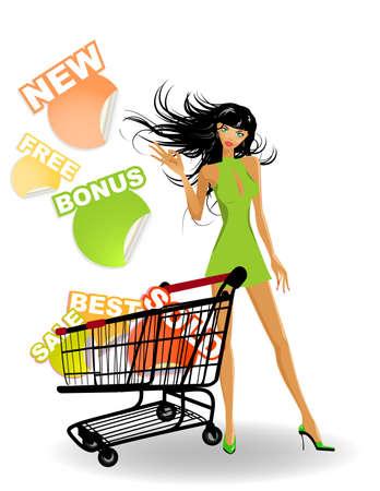 the shopping girl Vector