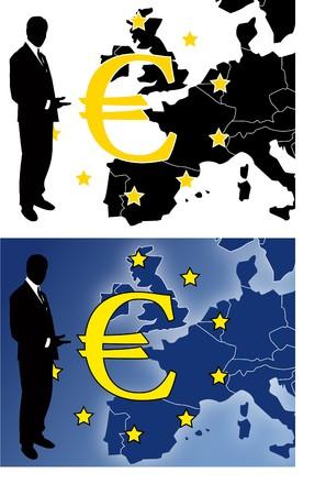 euro teken: the  euro sign with businessman