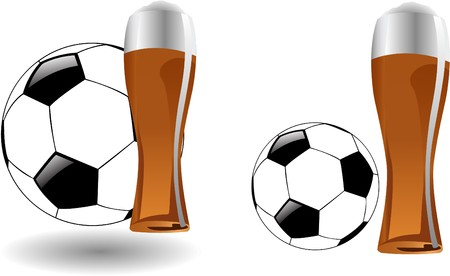 the  glass of beer with soccer ball Stock Vector - 7001369
