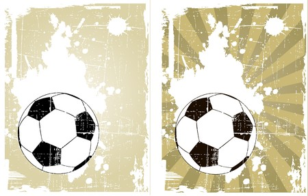 the  grunge background with soccer ball  Vector