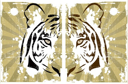 the abstract tiger head Vector