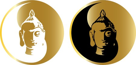 cabeza de buda: el oro Buda  Vectores