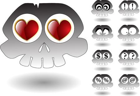 the cartoon skull set Stock Vector - 7001437