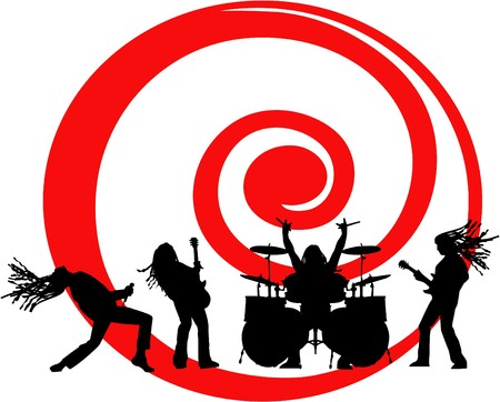 the vector musicians silhouette on red swirl Vector