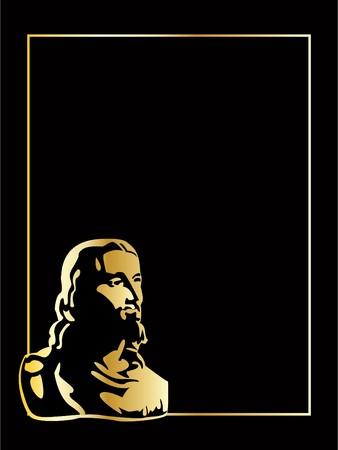 simbolos religiosos: el oro de vector jesus sobre fondo negro  Vectores