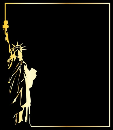 the gold vector statue of liberty on black background Vector