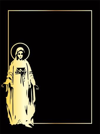 the gold vector Virgin Mary statue Иллюстрация