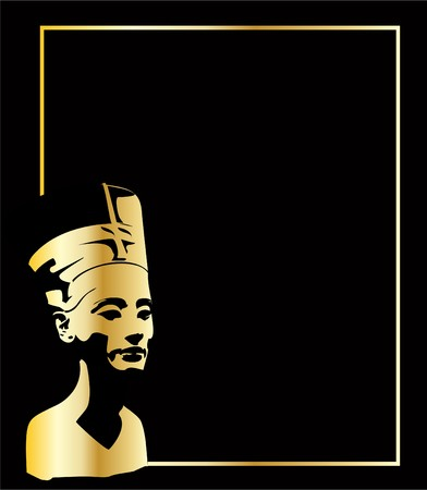 the gold vector head of Nefertiti Vector