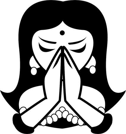 cabeza de buda: la ni�a India  Vectores