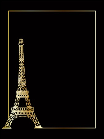 the gold vector eiffel tower eps 8  photo