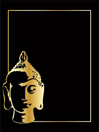 the gold vector buddha on black background photo
